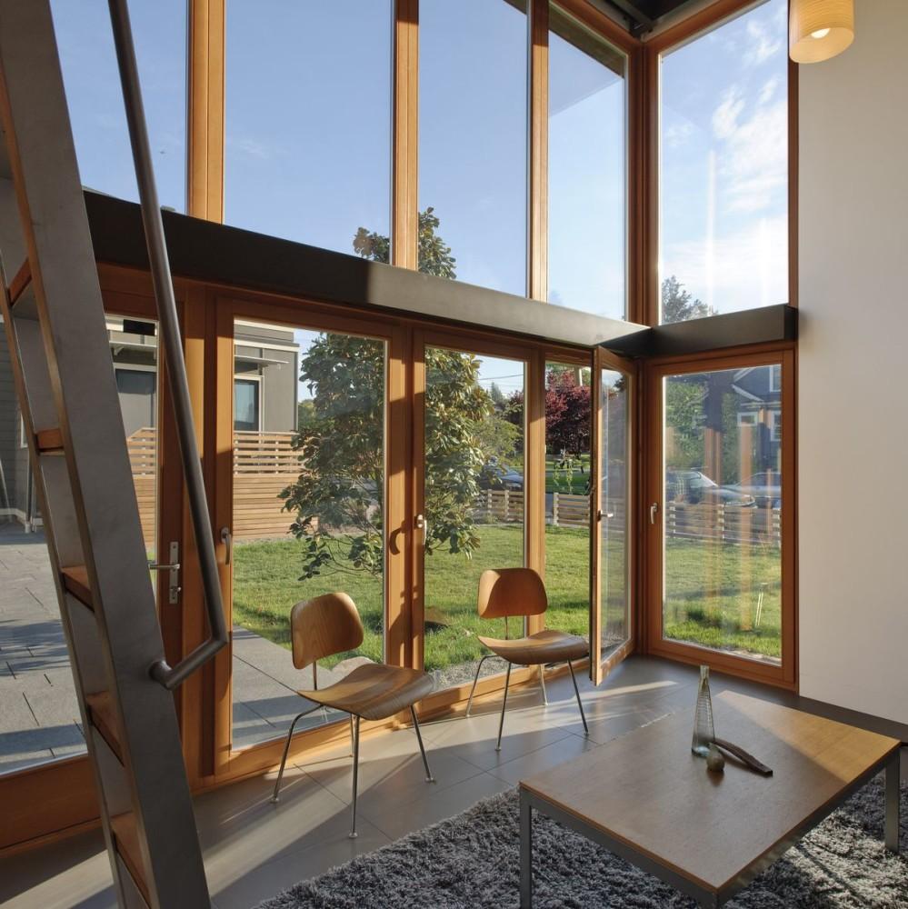 Архитектура в цветах: голубой, серый, светло-серый, коричневый, бежевый. Архитектура в стиле минимализм.
