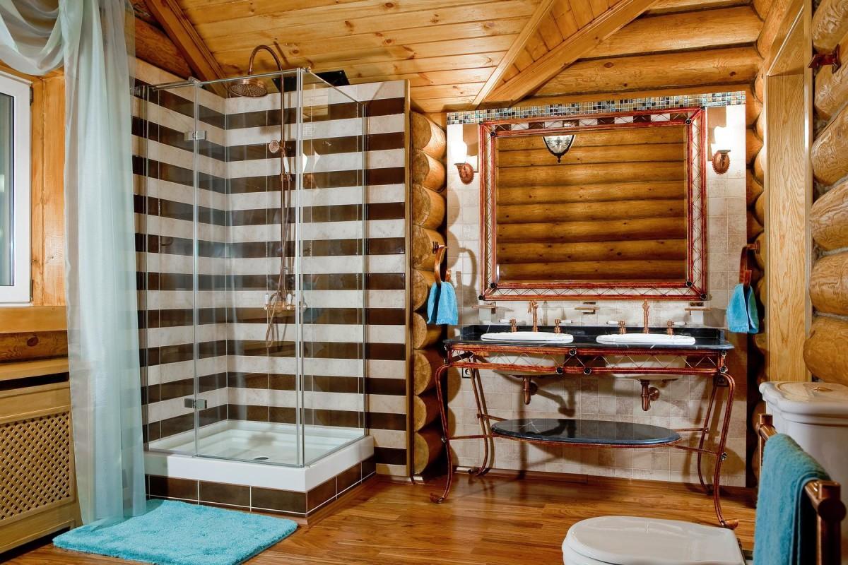 Туалет в цветах: голубой, белый, темно-коричневый, коричневый, бежевый. Туалет в стиле эклектика.