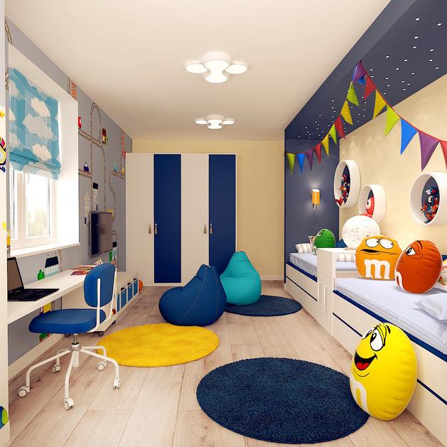 Детская в цветах: серый, светло-серый, белый, лимонный, сине-зеленый. Детская в стиле минимализм.