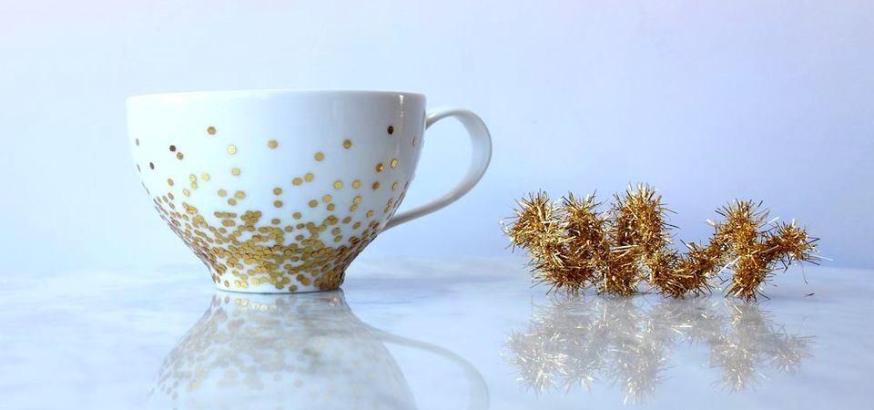 Как декорировать чашку золотыми конфетти: мастер-класс для родителей с детьми