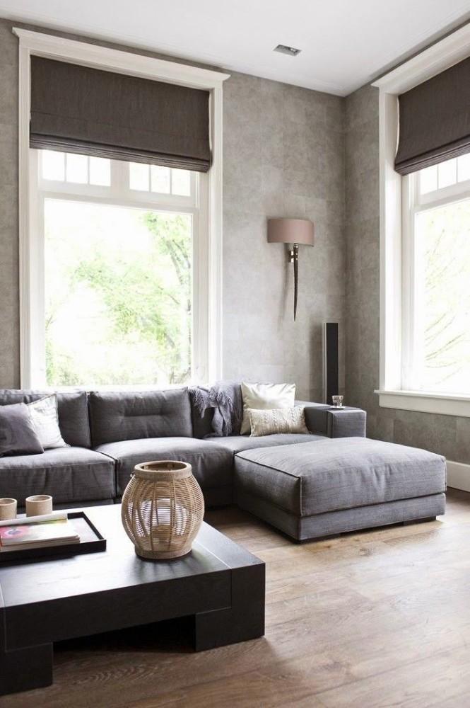 Гостиная, холл в цветах: черный, серый, светло-серый, белый. Гостиная, холл в стиле минимализм.