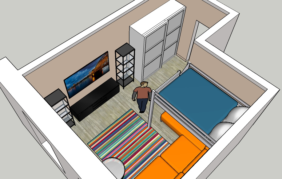 Гостиная, холл в цветах: оранжевый, бирюзовый, серый, белый. Гостиная, холл в .