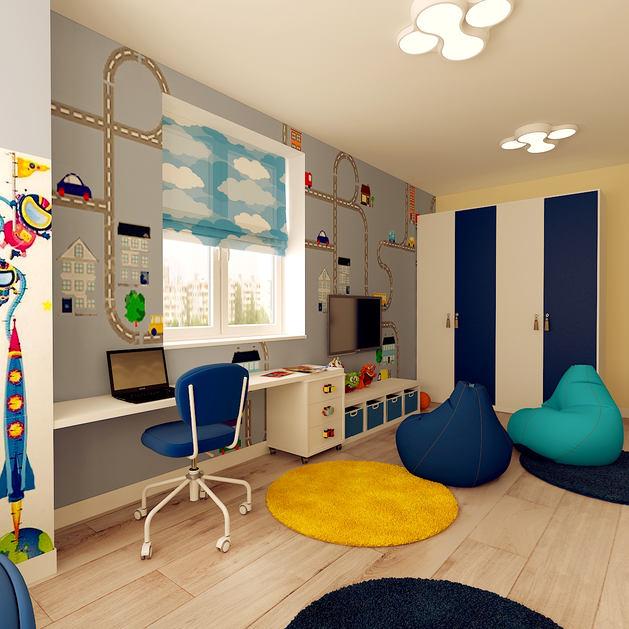 Детская в цветах: серый, белый, лимонный, сине-зеленый, бежевый. Детская в стиле минимализм.