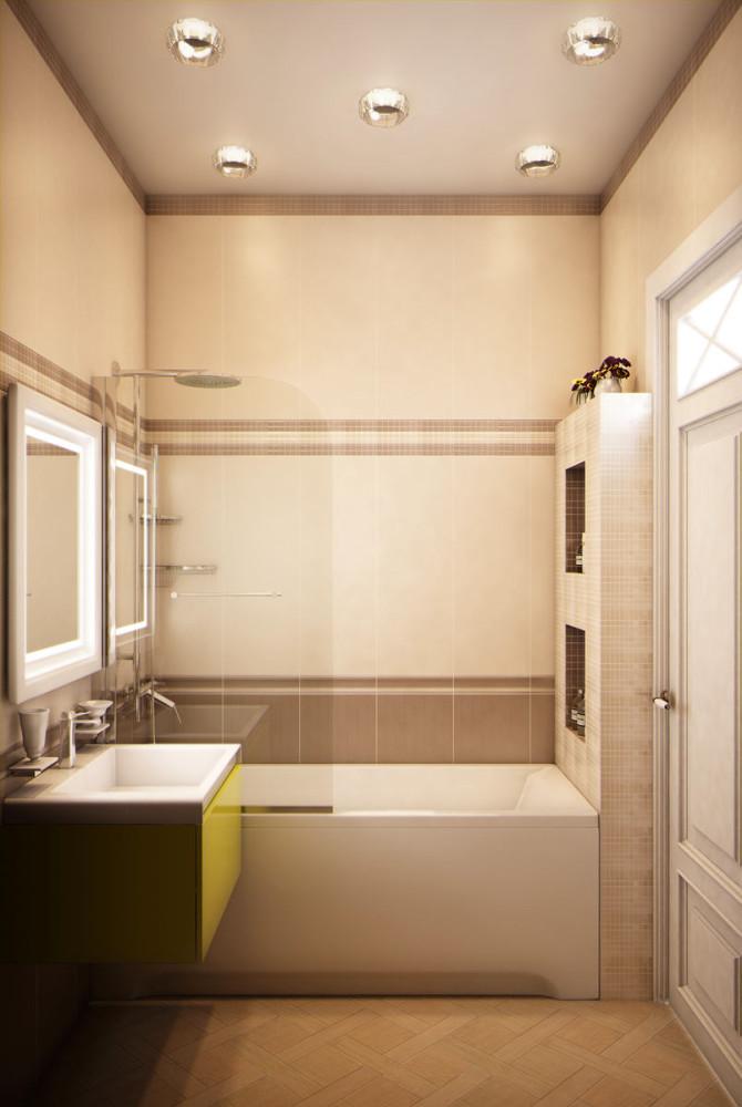 Ванная в цветах: желтый, светло-серый, белый, коричневый, бежевый. Ванная в стиле эклектика.