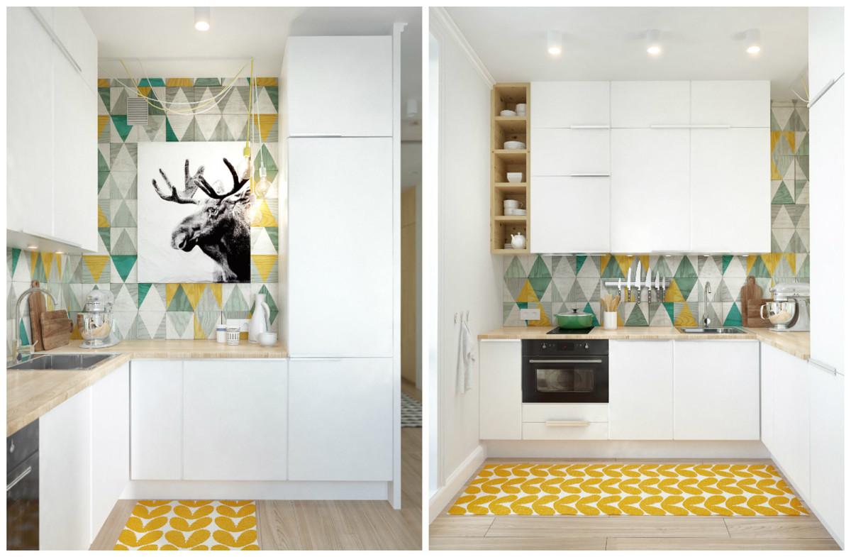 Кухня в цветах: желтый, белый, бежевый. Кухня в стиле скандинавский стиль.