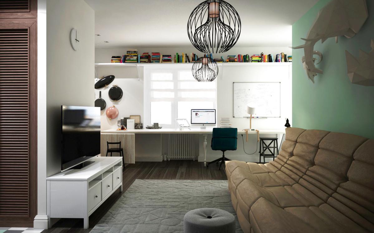 Гостиная, холл в цветах: серый, светло-серый, белый, салатовый. Гостиная, холл в стиле скандинавский стиль.