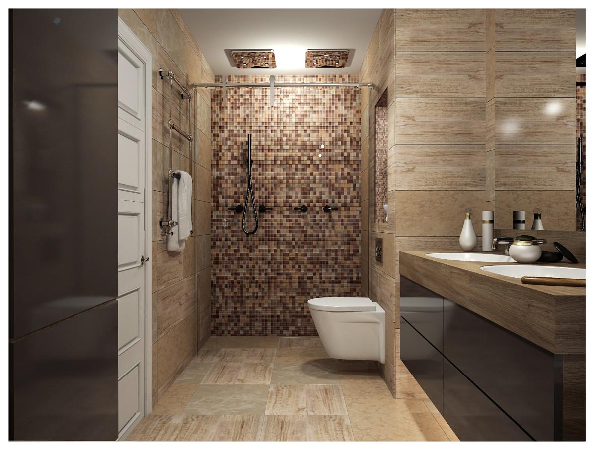 Туалет в  цветах:   Бежевый, Белый, Коричневый, Темно-коричневый, Черный.  Туалет в  стиле:   Минимализм.