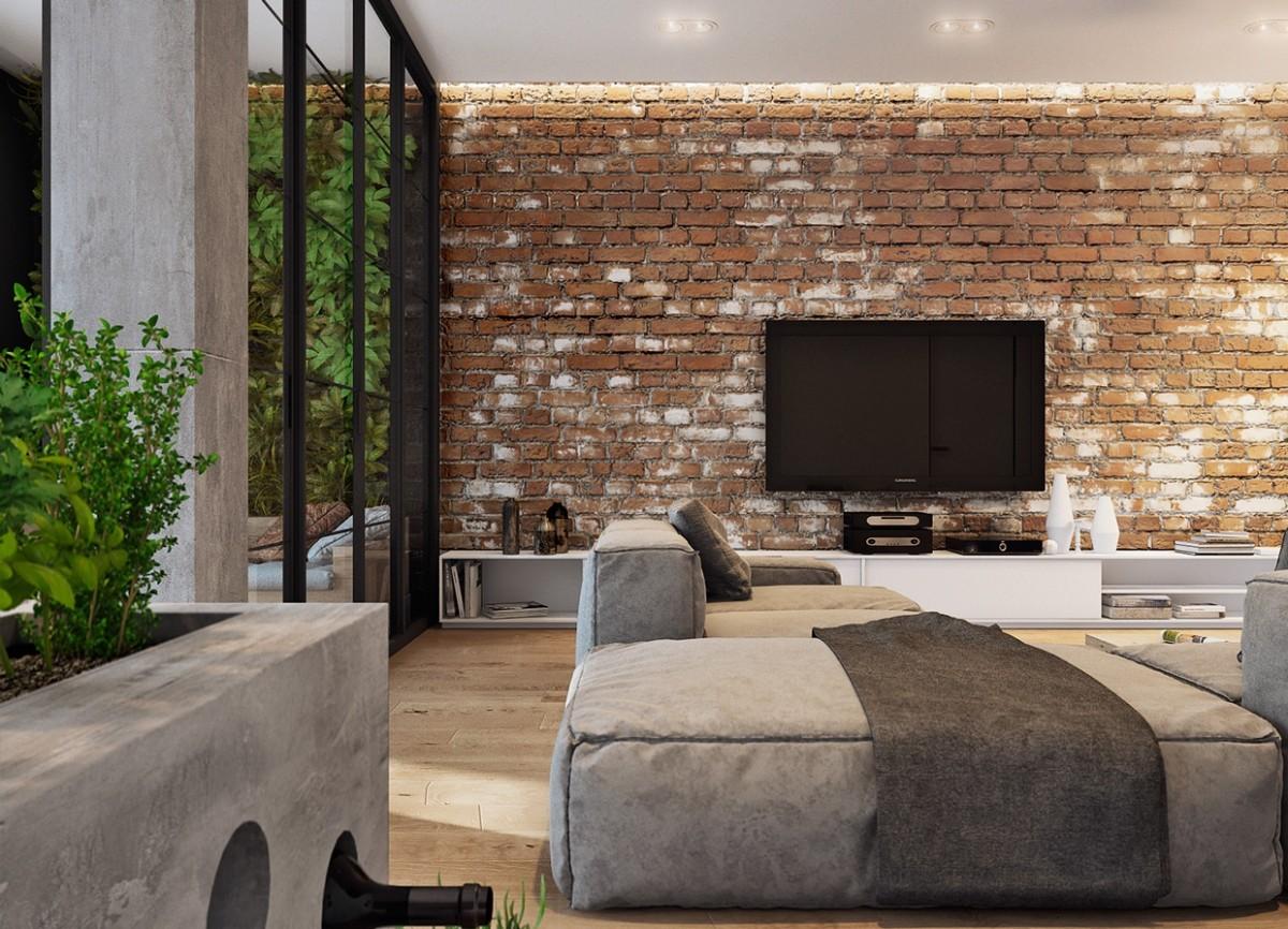15 уютнейших гостиных с кирпичными стенами