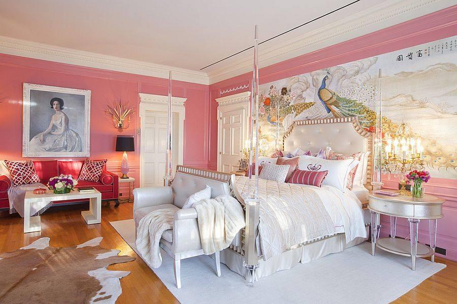 Спальня в  цветах:   Бежевый, Коричневый, Красный, Светло-серый, Серый.  Спальня в  стиле:   Неоклассика.