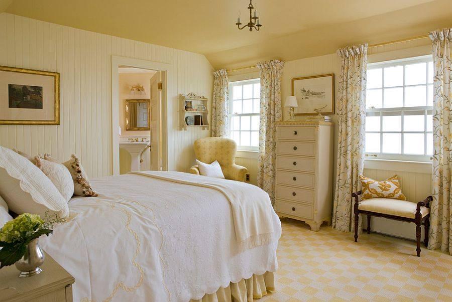 Спальня в  цветах:   Бежевый, Коричневый, Светло-серый.  Спальня в  стиле:   Кантри.