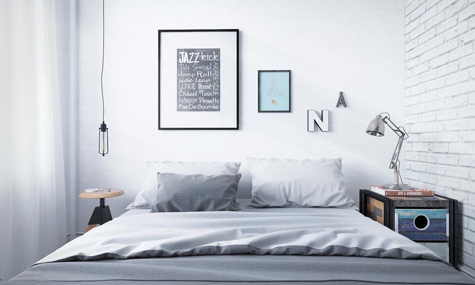 Спальня в  цветах:   Белый, Светло-серый, Серый.  Спальня в  стиле:   Скандинавский.