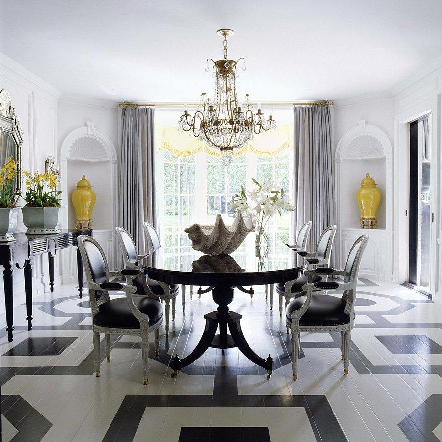 Кухня/столовая в  цветах:   Белый, Светло-серый, Серый, Черный.  Кухня/столовая в  стиле:   Неоклассика.