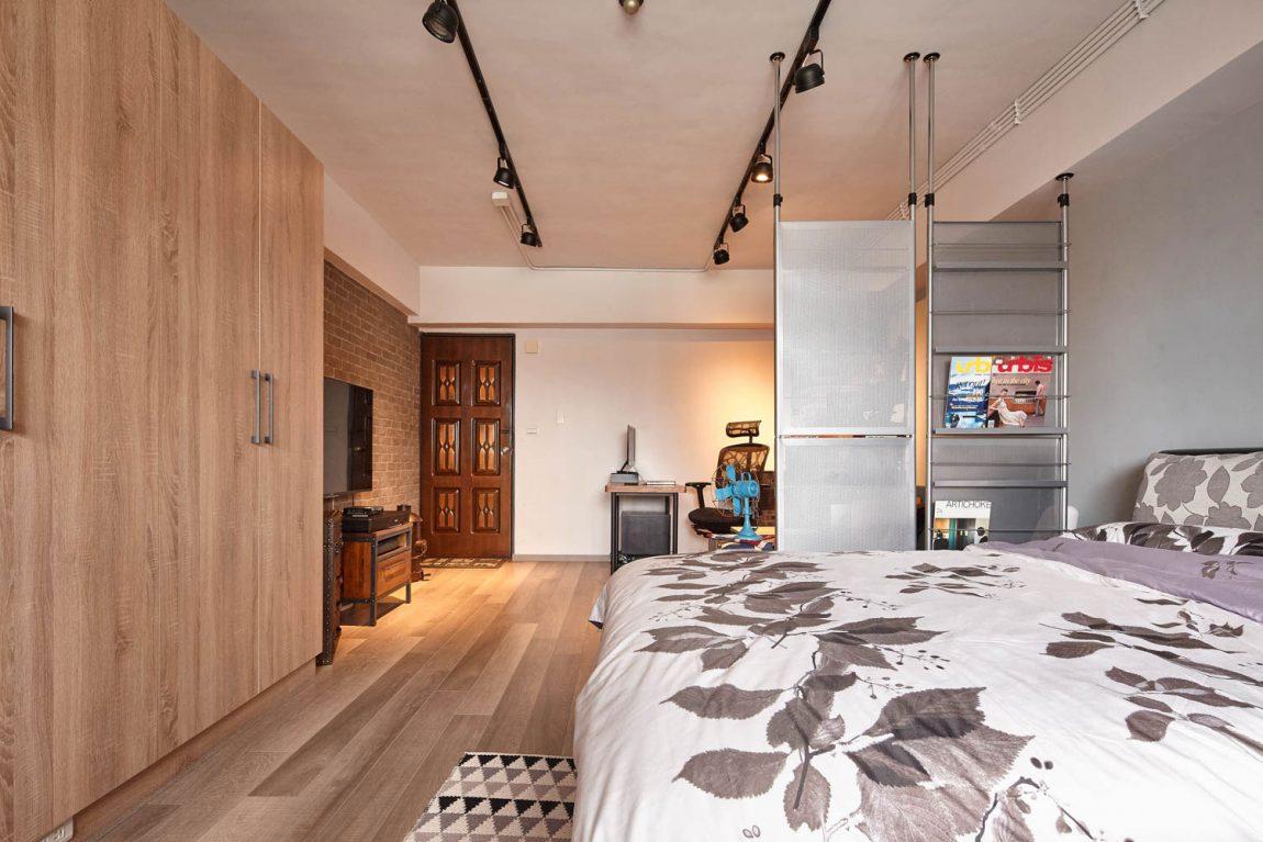 Спальня в  цветах:   Бежевый, Коричневый, Светло-серый, Серый.  Спальня в  стиле:   Лофт.