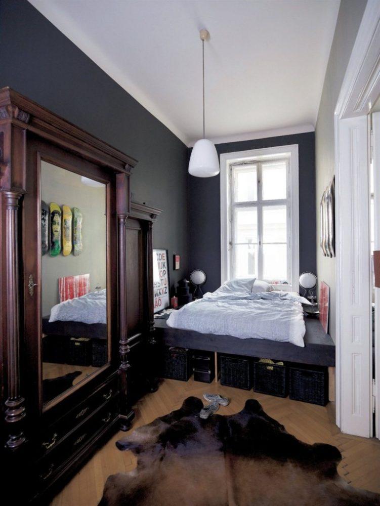 Спальня в  цветах:   Коричневый, Светло-серый, Серый, Темно-коричневый, Черный.  Спальня в  стиле:   Скандинавский.