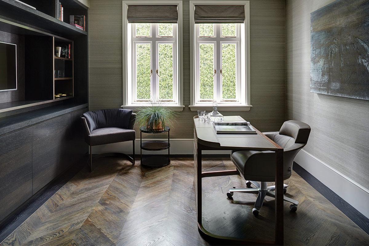 Кабинет в  цветах:   Бежевый, Светло-серый, Серый, Темно-коричневый, Черный.  Кабинет в  стиле:   Минимализм.