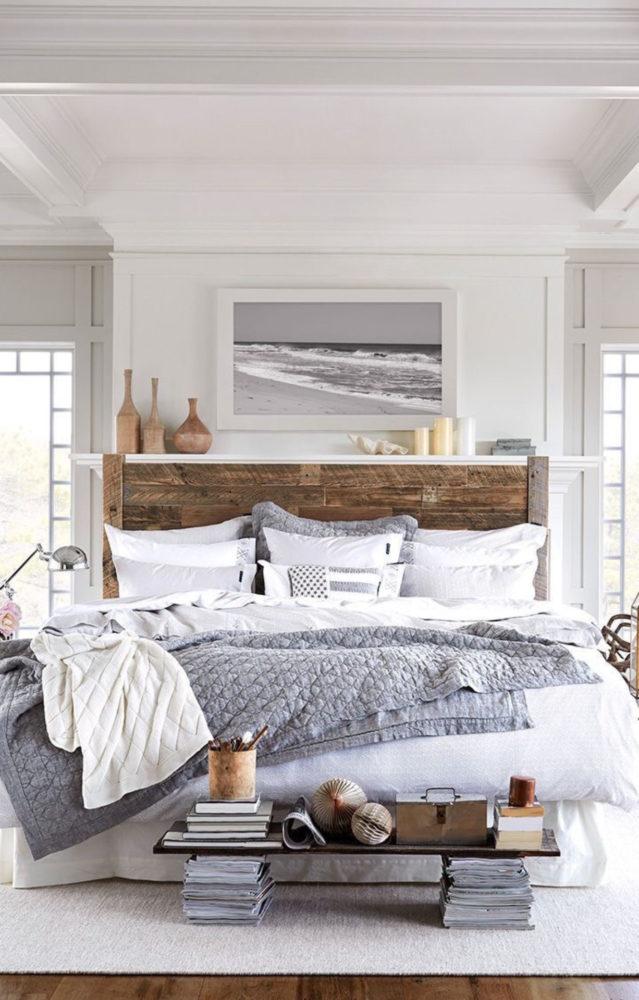 Спальня в  цветах:   Белый, Светло-серый, Серый.  Спальня в  стиле:   Американский стиль.