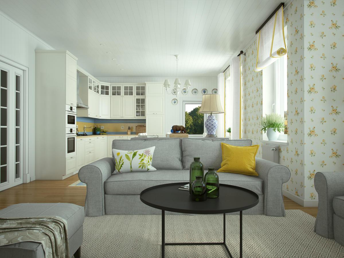 Каркасно-щитовой дом: интерьер дачи в Подмосковье с мебелью из ИКЕА
