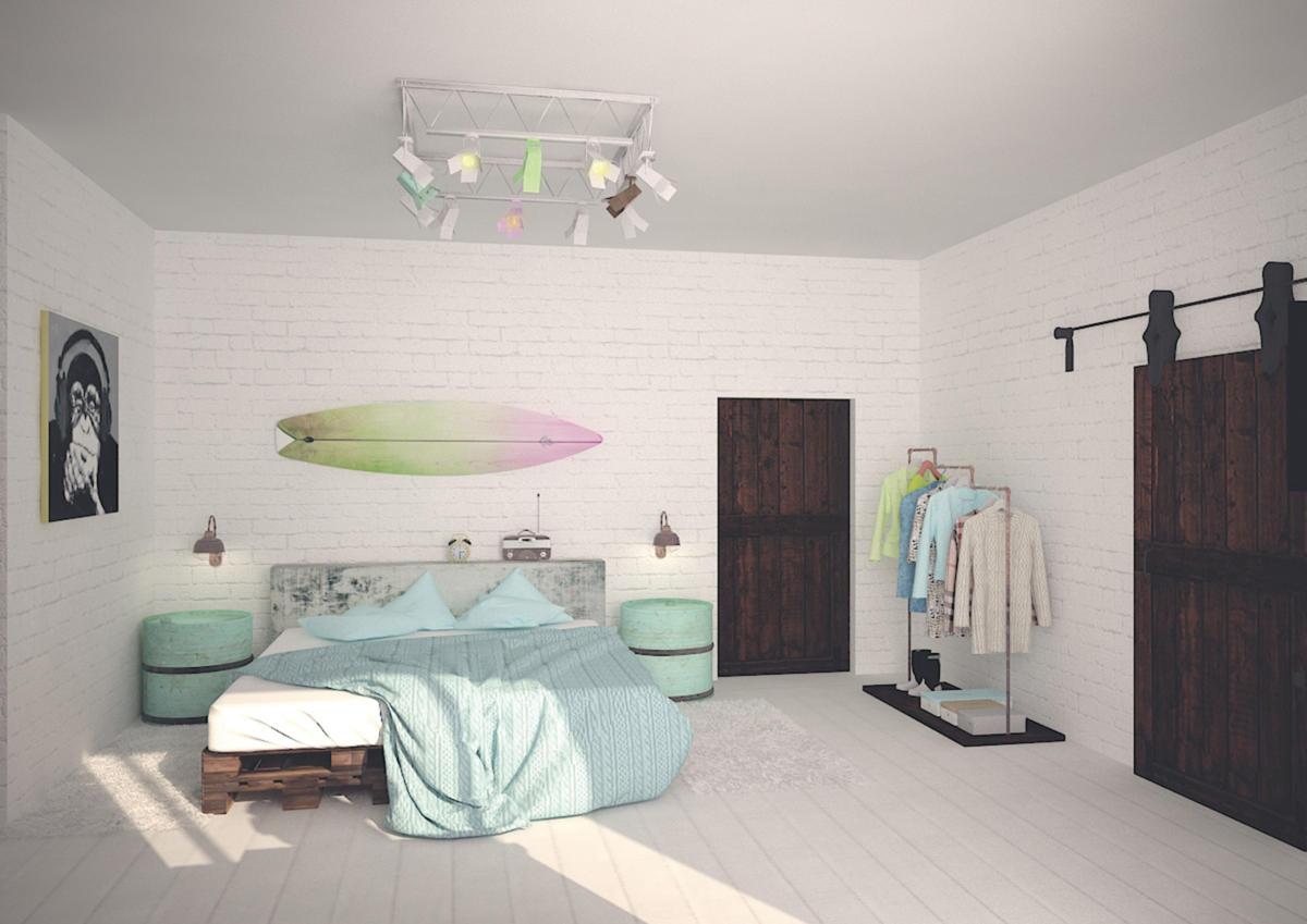 Квартира в стиле лофт с белыми кирпичными стенами, мебелью из палет и амбарными дверьми