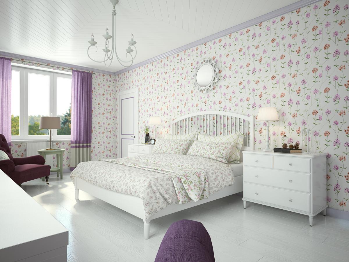 Спальня в  цветах:   Белый, Светло-серый, Серый.  Спальня в  стиле:   Прованс.