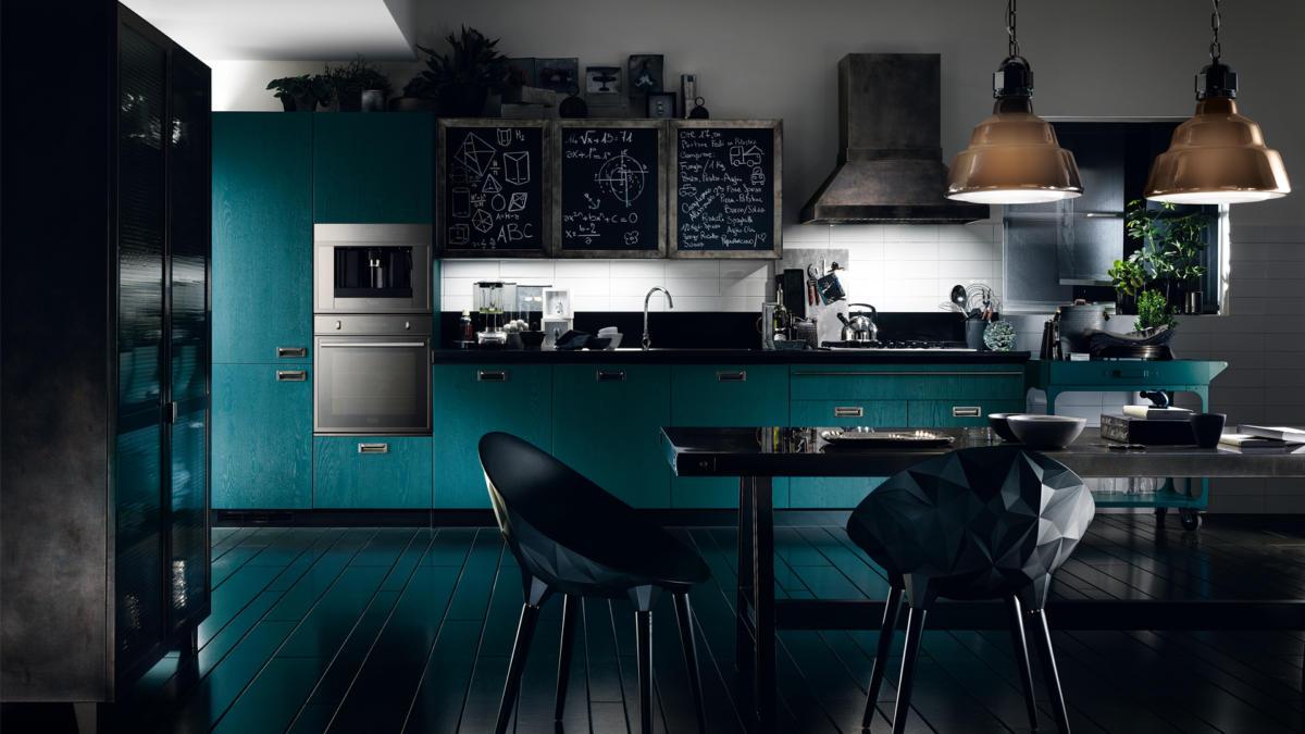 Кухня/столовая в  цветах:   Серый, Синий, Черный.  Кухня/столовая в  стиле:   Лофт.
