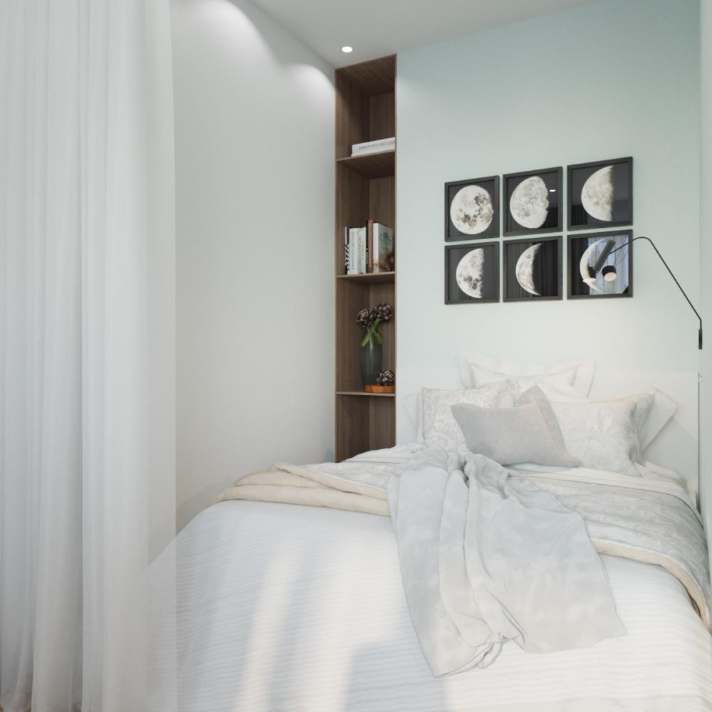 Спальня в  цвете:   Светло-серый.  Спальня в  стиле:   Скандинавский.