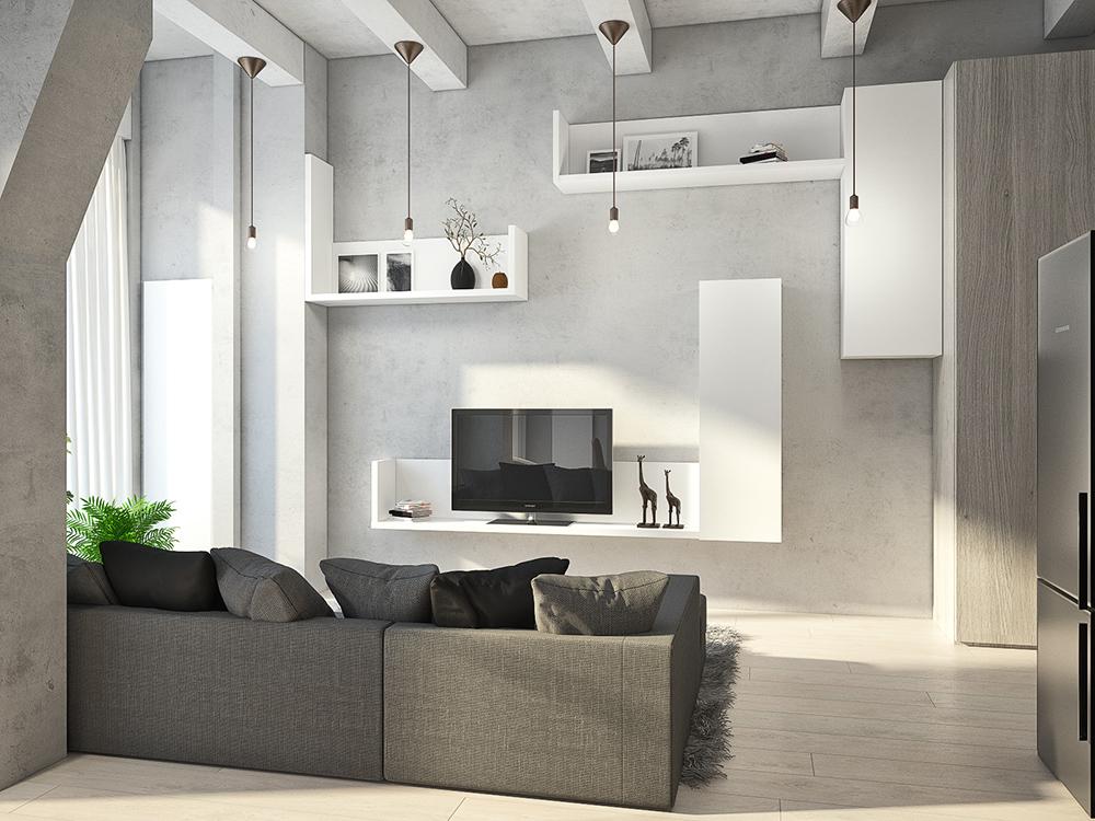 Гостиная в  цветах:   Бежевый, Белый, Светло-серый, Серый.  Гостиная в  стиле:   Лофт.