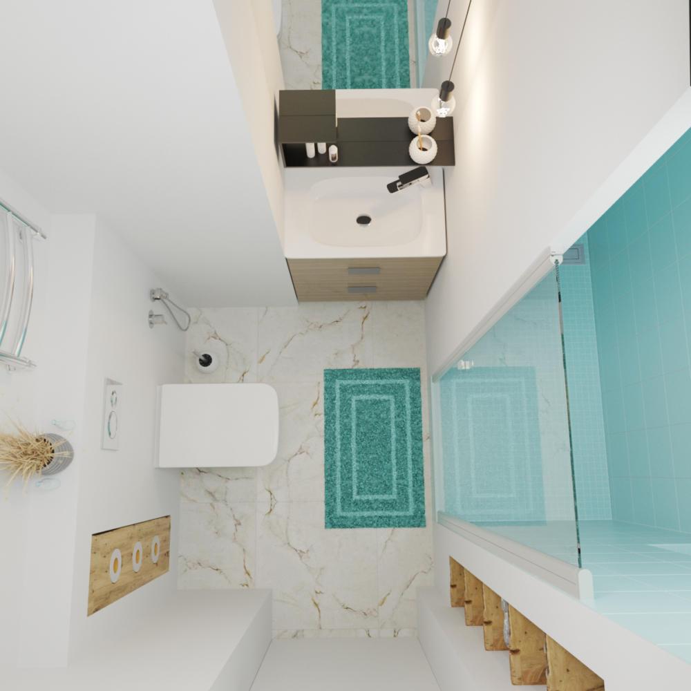 Ванная в  цветах:   Бежевый, Голубой, Светло-серый.  Ванная в  стиле:   Минимализм.