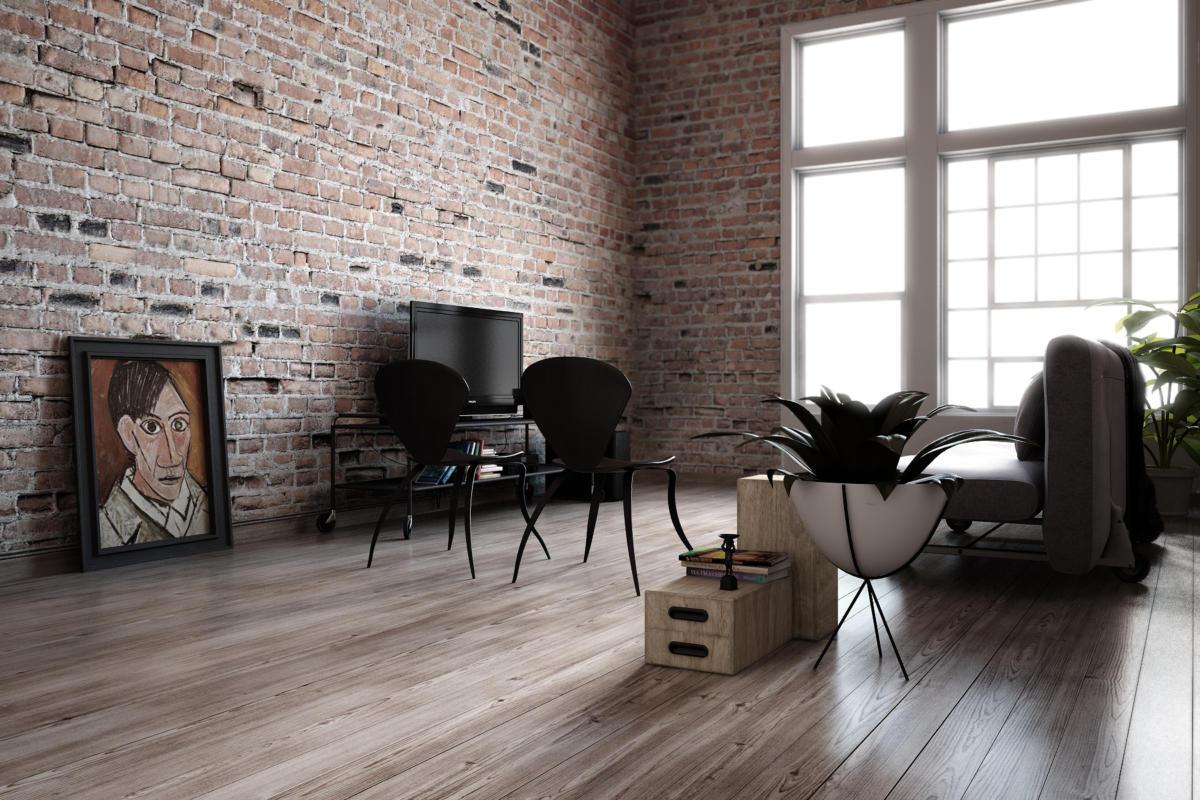 Гостиная в  цветах:   Белый, Светло-серый, Серый, Темно-коричневый, Черный.  Гостиная в  стиле:   Лофт.