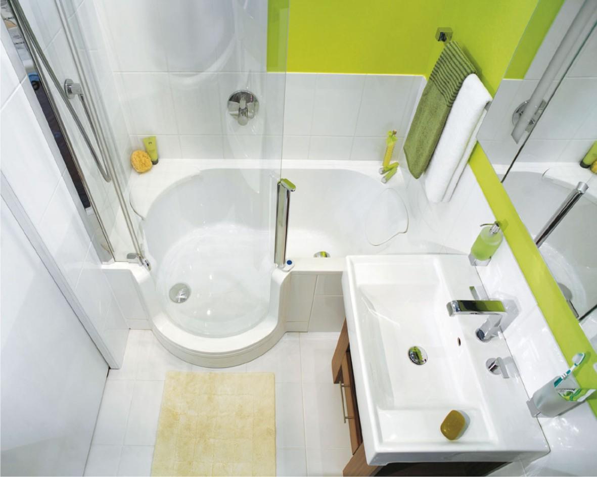 Ванная в  цветах:   Белый, Салатовый, Светло-серый.  Ванная в  стиле:   Минимализм.