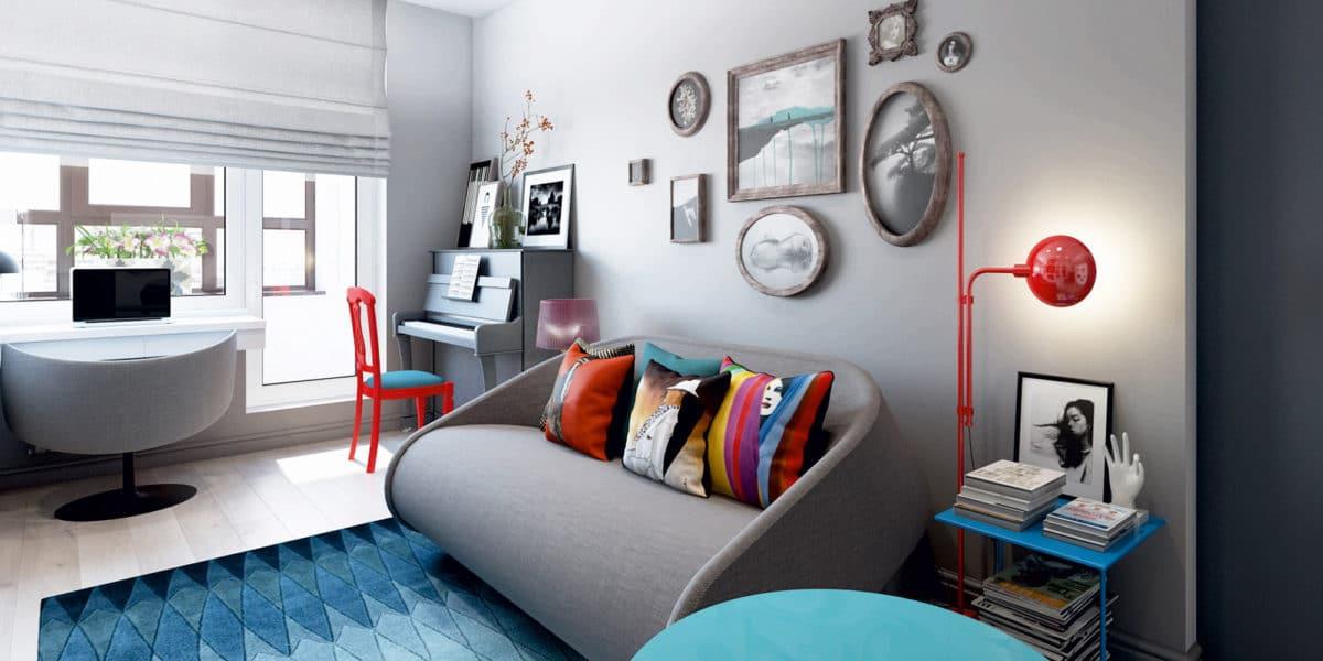 Гостиная в  цветах:   Белый, Светло-серый, Серый, Синий, Черный.  Гостиная в  стиле:   Эклектика.