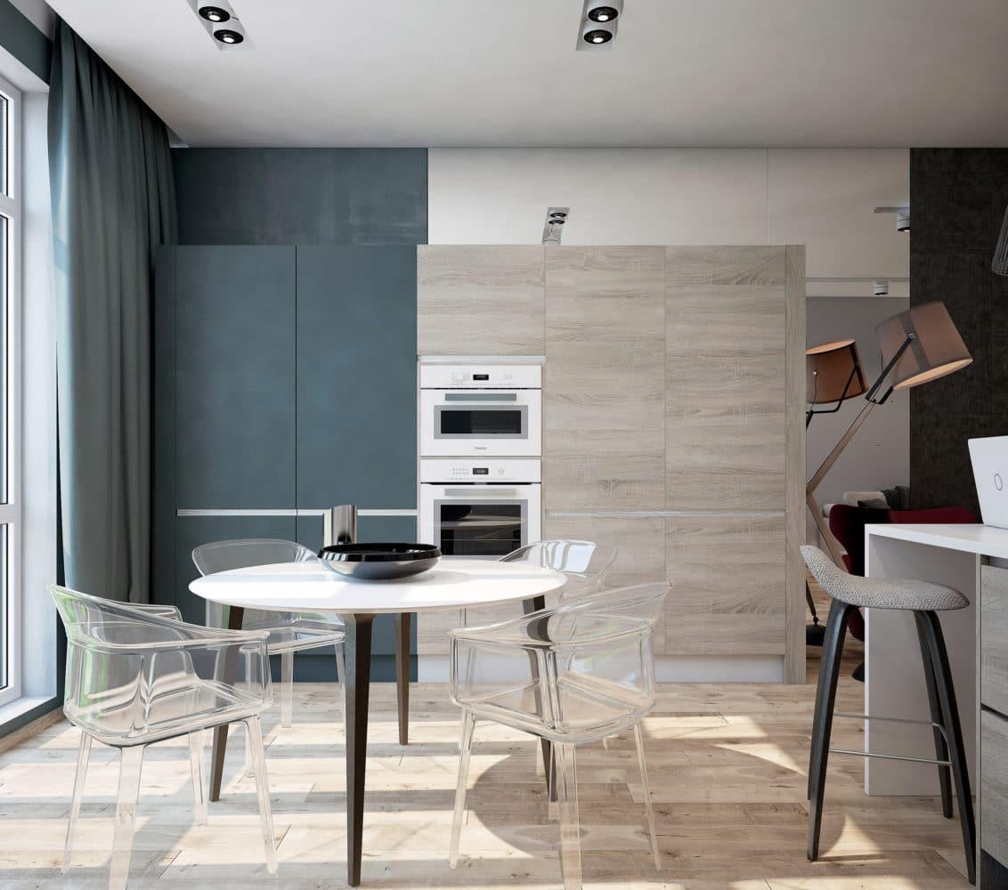 Кухня/столовая в  цветах:   Бежевый, Светло-серый, Серый, Синий, Черный.  Кухня/столовая в  стиле:   Минимализм.