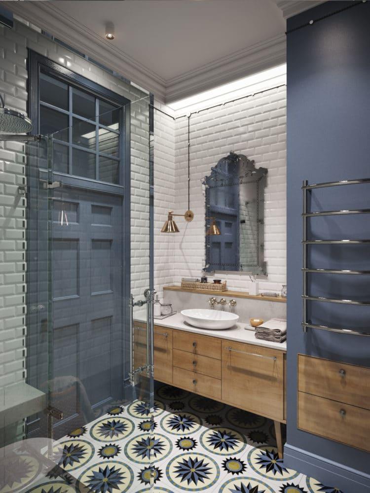 Ванная в  цветах:   Бежевый, Светло-серый, Серый, Синий, Черный.  Ванная в  стиле:   Скандинавский.