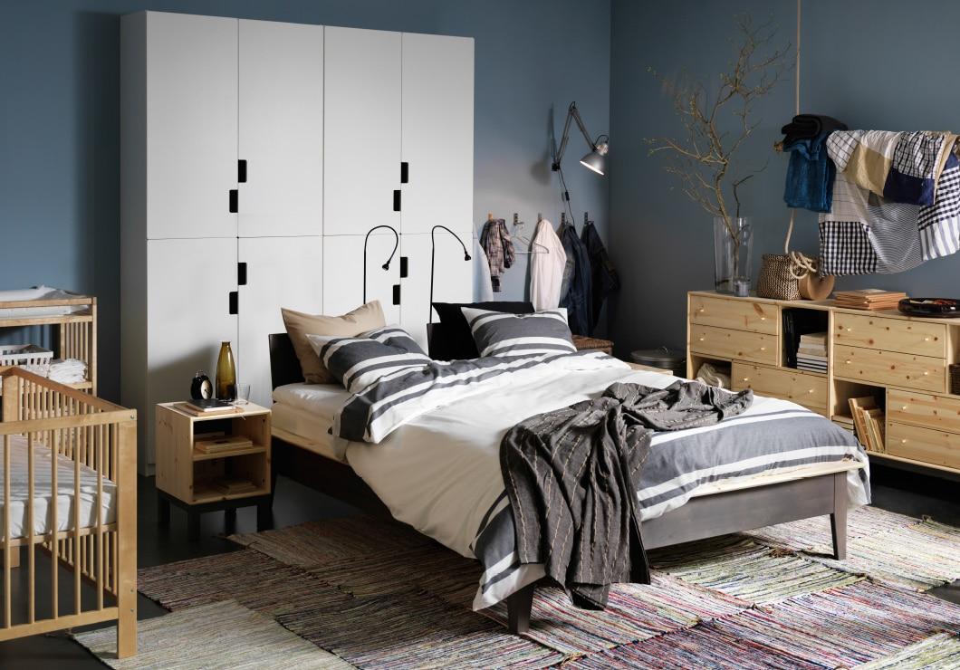 Спальня в  цветах:   Бежевый, Светло-серый, Серый, Синий, Черный.  Спальня в  стиле:   Скандинавский.