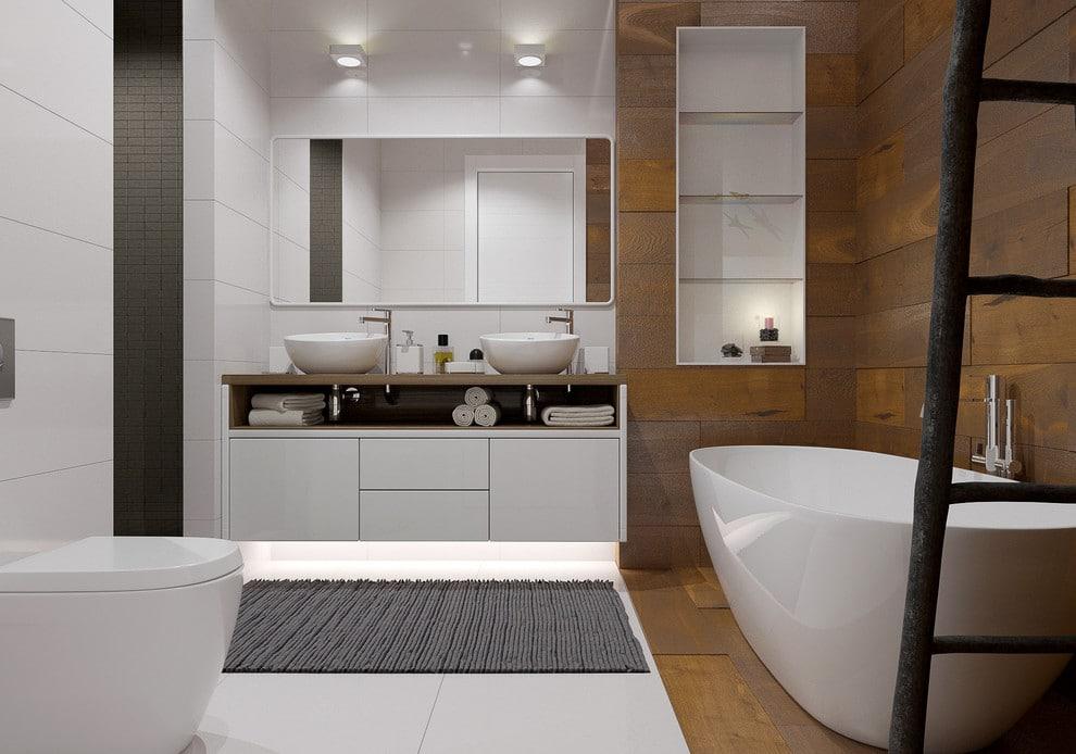 Ванная в  цветах:   Коричневый, Светло-серый, Серый, Темно-коричневый, Черный.  Ванная в  стиле:   Минимализм.