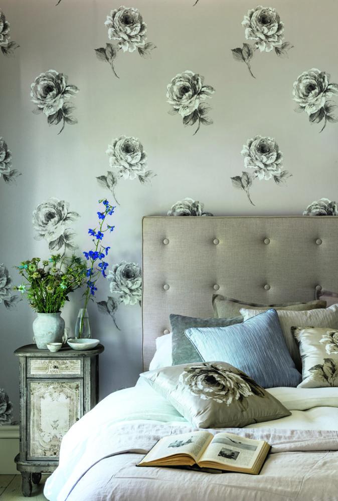 Спальня в  цветах:   Бежевый, Белый, Светло-серый, Серый.  Спальня в  стиле:   Шебби-шик.