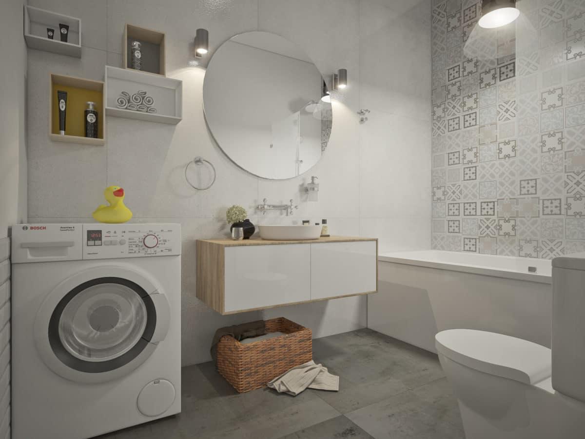 Ванная в  цветах:   Бежевый, Светло-серый, Серый.  Ванная в  стиле:   Минимализм.