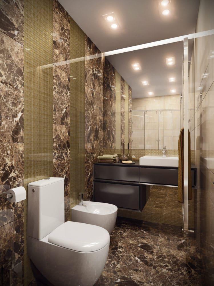 Туалет в  цветах:   Бежевый, Коричневый, Светло-серый, Серый, Темно-коричневый.  Туалет в  стиле:   Минимализм.