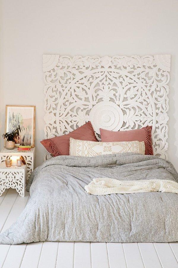 Спальня в  цветах:   Бежевый, Светло-серый.  Спальня в  стиле:   Восточные стили.
