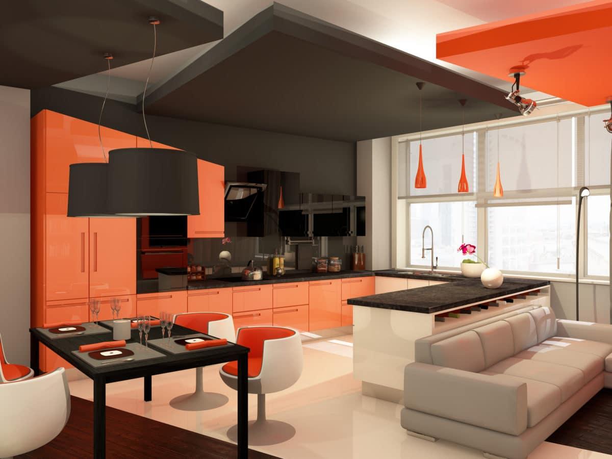 Квартира в Москве: оранжевый цвет в интерьере