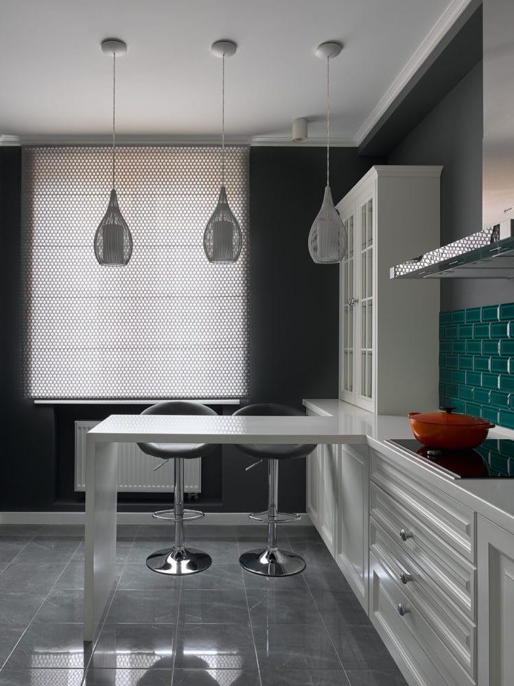 Кухня/столовая в  цветах:   Белый, Светло-серый, Серый, Синий, Черный.  Кухня/столовая в  стиле:   Минимализм.