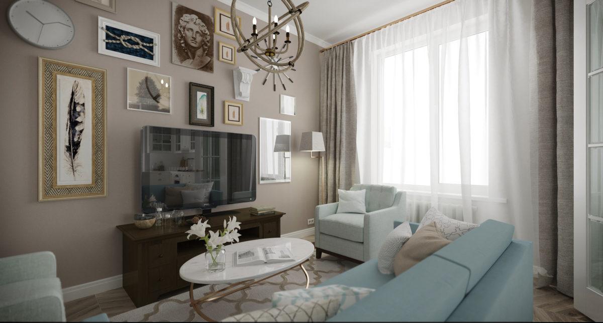Гостиная в  цветах:   Бежевый, Белый, Светло-серый, Серый, Темно-коричневый.  Гостиная в  стиле:   Неоклассика.