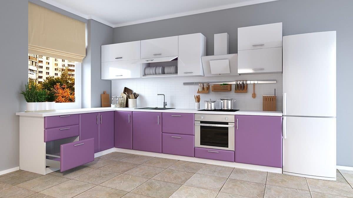 Кухня/столовая в  цветах:   Бежевый, Белый, Светло-серый, Серый, Сиреневый.  Кухня/столовая в  стиле:   Минимализм.