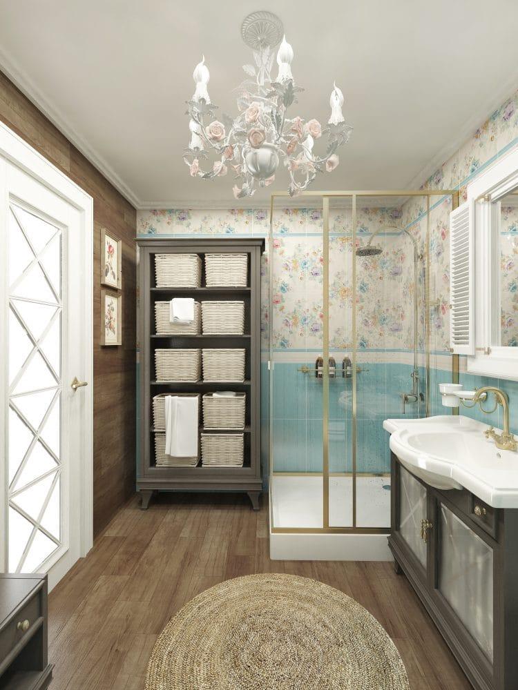 Ванная в  цветах:   Бежевый, Белый, Коричневый, Светло-серый, Серый.  Ванная в  стиле:   Прованс.