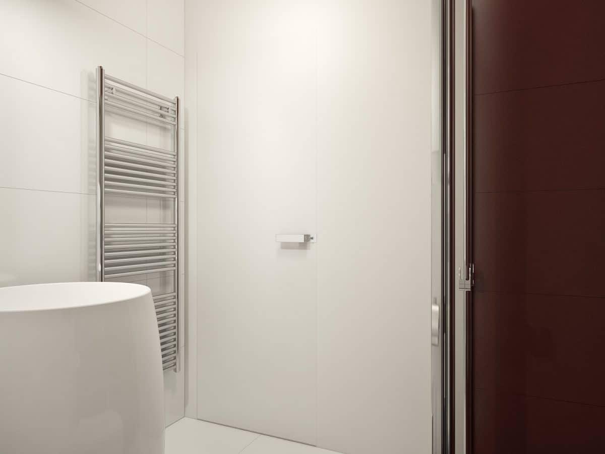 Ванная в  цветах:   Бежевый, Белый, Светло-серый, Темно-коричневый.  Ванная в  стиле:   Минимализм.