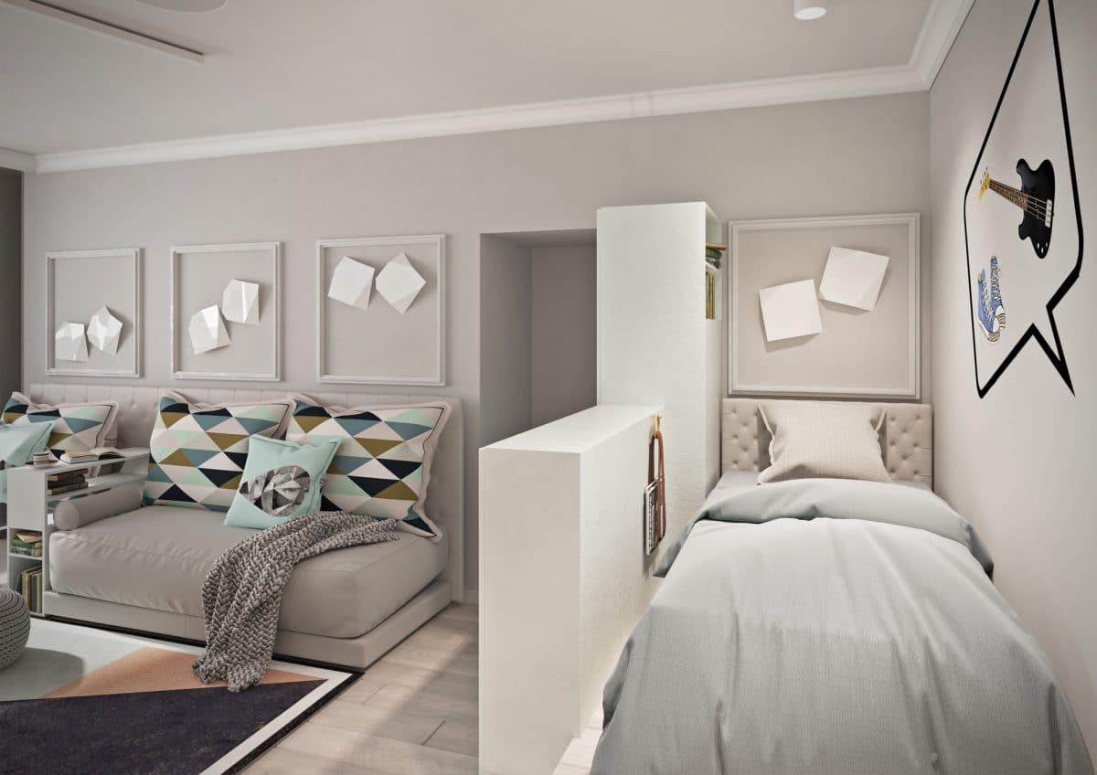 Спальня в  цветах:   Бежевый, Светло-серый, Серый.  Спальня в  стиле:   Минимализм.