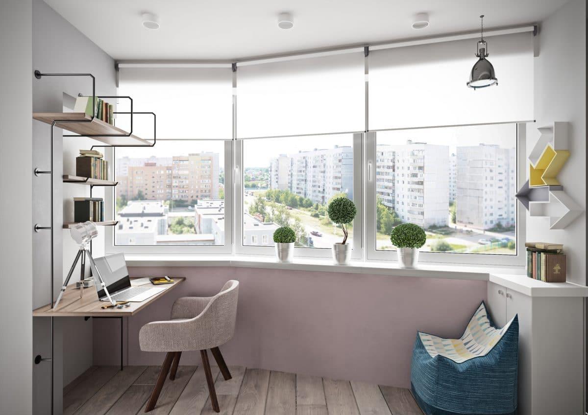 Балкон в  цветах:   Бежевый, Белый, Светло-серый, Серый.  Балкон в  стиле:   Минимализм.