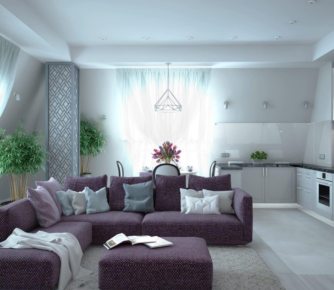 Квартира с фиолетовым диваном для молодой семьи