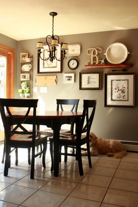 Кухня/столовая в  цветах:   Белый, Светло-серый, Черный, Коричневый, Бежевый.  Кухня/столовая в  стиле:   Кантри.