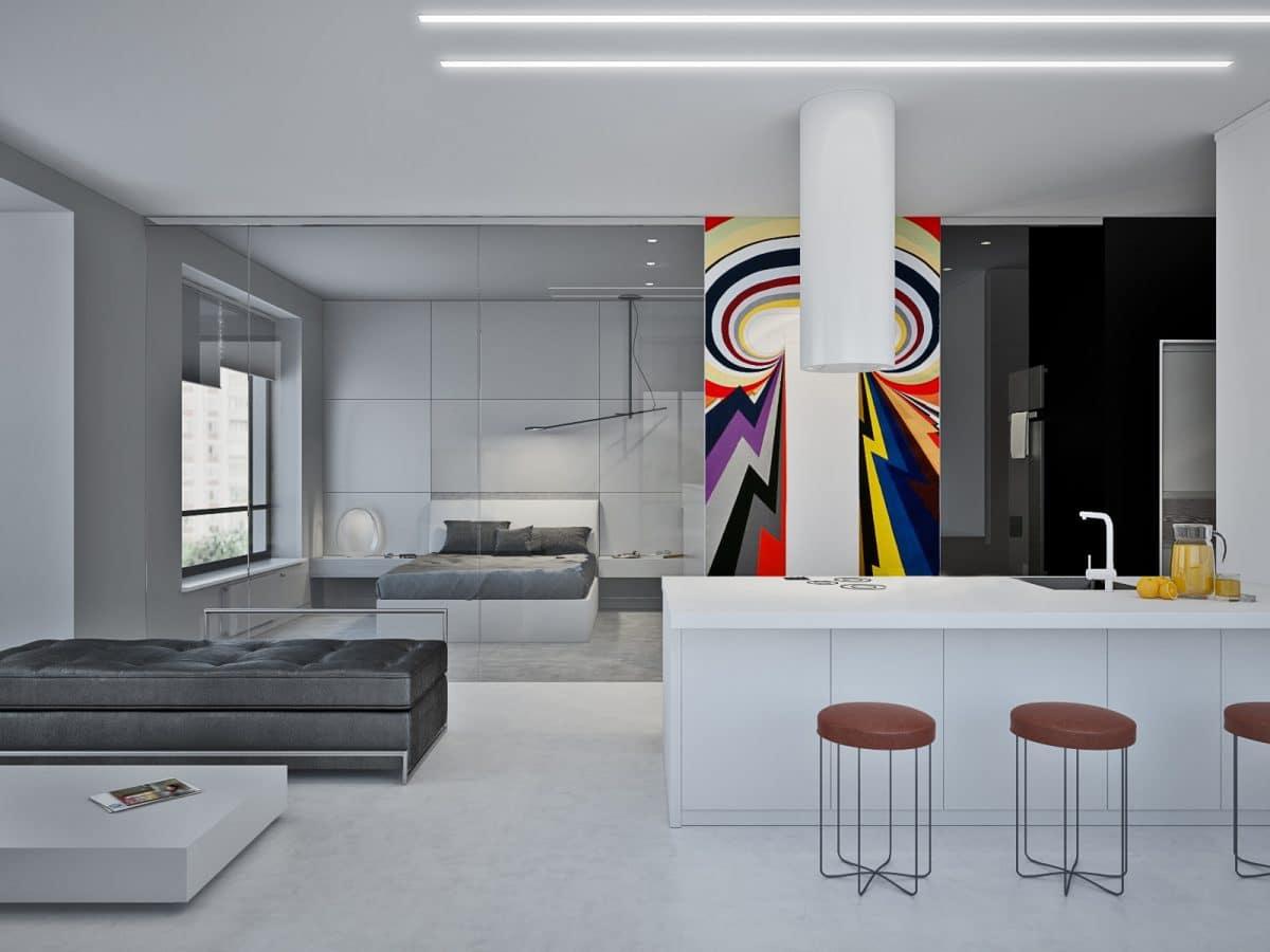 Кухня/столовая в  цветах:   Светло-серый, Серый, Черный.  Кухня/столовая в  стиле:   Минимализм.