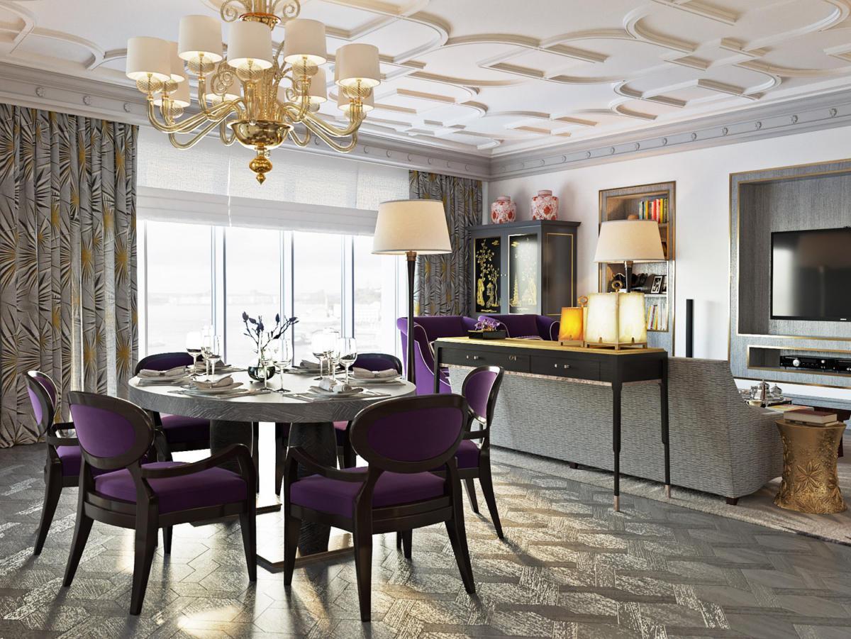 Кухня/столовая в  цветах:   Бежевый, Темно-коричневый, Фиолетовый.  Кухня/столовая в  стиле:   Неоклассика.